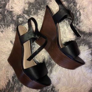 Black faux leather w brown wedges